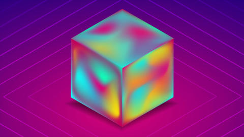 Abstract holographic liquid 3d cube on blue purple background. Technology video animation Animation