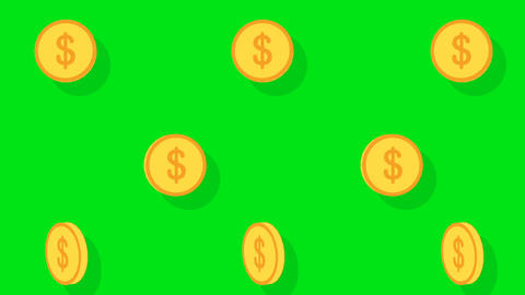 Coins pattern on green screen background video.Dollar coin sell concept.Design tile coin moving Animation