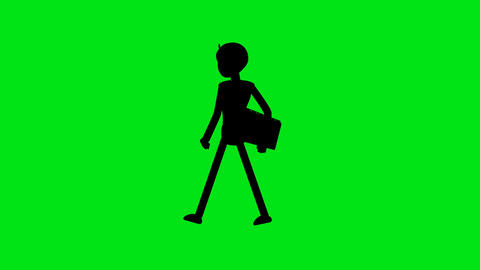 Silhouette Business man walking on green background loopable video.Male character walk cycle Animación