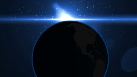 Blue Flare Over The Earth. 3D Animation.Sunrise Over Earth As Seen From Space.Sunrise on Planet Animation