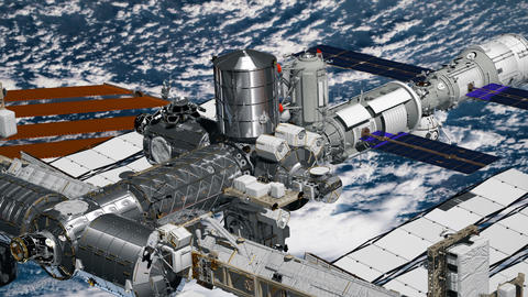 Realistic 3D Animation of International Space Station ISS revolving over earths Footage