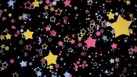 ゆっくり接近するホップな星エフェクト-カラフル/透過背景 CG動画
