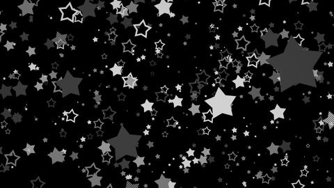 ゆっくり接近するホップな星エフェクト-モノクロ/透過背景 CG動画