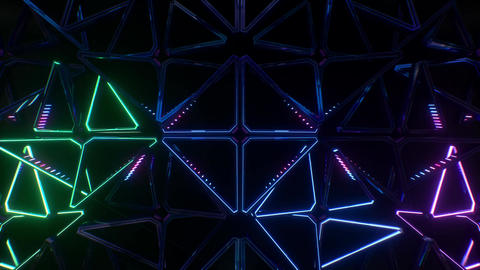 Looping futuristic neon glowing blinking light grid, Stock Animation