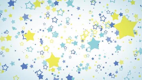 ゆっくり接近するホップな星エフェクト-ブルー/白背景 CG動画