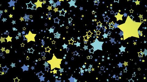 ゆっくり接近するホップな星エフェクト-ブルー/黒背景 CG動画