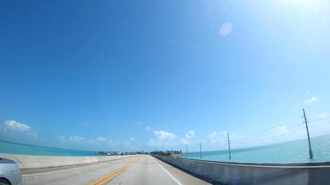 Driving southbound on Seven Miles Bridge. Florida Keys, USA Footage