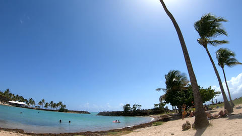 Panoramic view of Bas du Fort beach in Guadeloupe, Caribbean sea Live Action