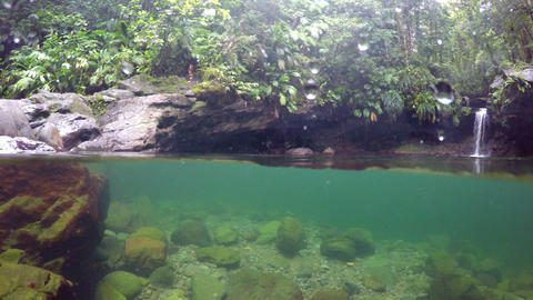 Split underwater view of Bassin Paradise lagoon and waterfall in Guadeloupe, Fre Footage