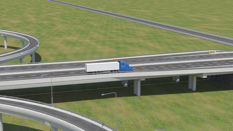 Follow-up Shot of a Semi-Truck with Cargo Trailer Moving on a Highway Archivo