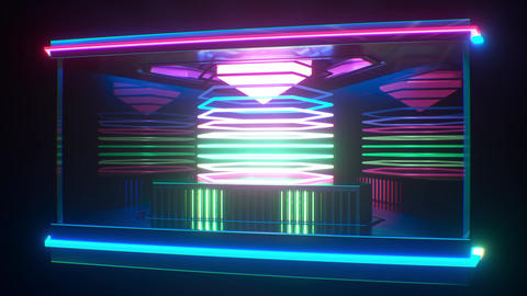 Looping futuristic neon glowing blinking light object Animation