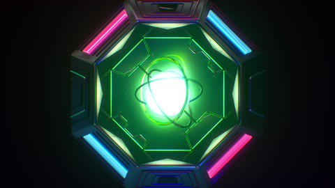 Looping futuristic neon glowing blinking light object GIF