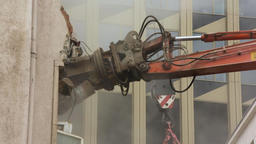 Demolition Arm Breaking Wall Stock Video Footage
