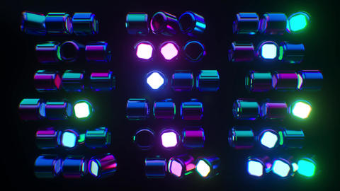 Looping futuristic neon glowing blinking light grid Stock Video Footage