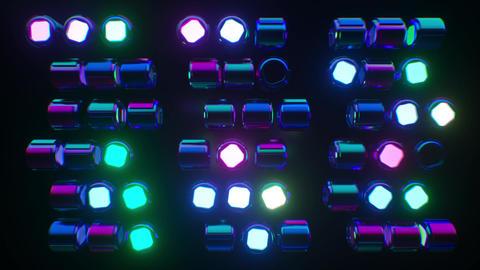 Looping futuristic neon glowing blinking light grid CG動画素材
