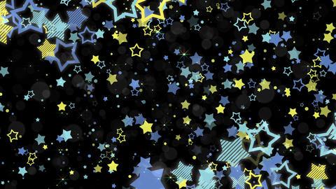 ポップな星エフェクトとキラキラエフェクトのフレーム-ブルー/黒背景 CG動画