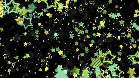 ポップな星エフェクトとキラキラエフェクトのフレーム-グリーン/黒背景 CG動画
