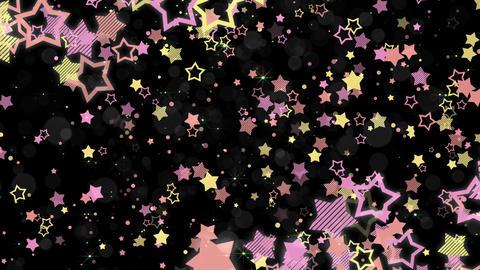 ポップな星エフェクトとキラキラエフェクトのフレーム-ピンク/黒背景 CG動画