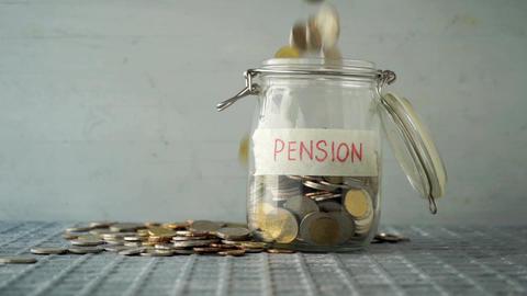 Pension concept money jar Live Action