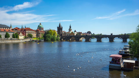 Charles Bridge in Prague old town time lapse in Prague city, Czech Republic Footage