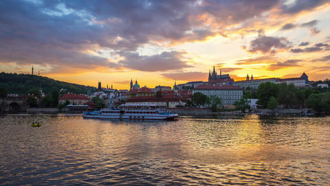 Prague old town day to night time lapse in Prague city, Czech Republic timelapse Footage