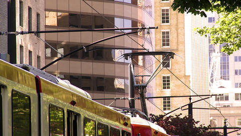 Shot of the city tram electric lines as a tram comes to a stop Footage
