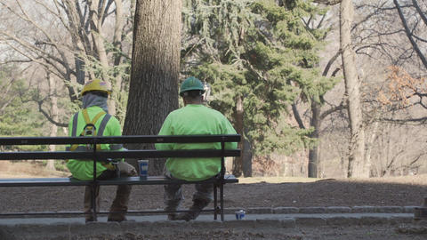 City workers on break in New York City Footage