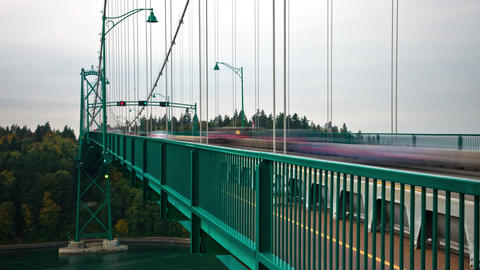 High speed shot of traffic on the Lions Gate Bridge in Vancouver, Canada Footage