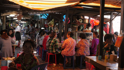 People eating food stalls in market,Phnom Penh,Cambodia Footage