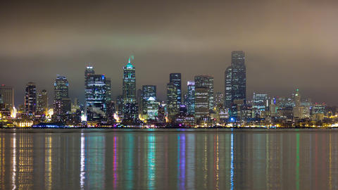 Time lapse reflection of Seattle from Alki Point Footage