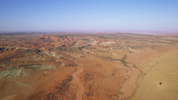 Shot of the desert in Moab from a hotair balloon Footage