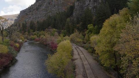 Scenic Mountain Train Tracks Footage