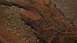 Aerial shot of various rock formations at the Moab Desert in Utah Footage