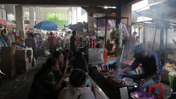 Barbeque food stall in market,Phnom Penh,Cambodia Footage