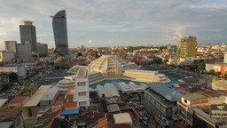 Central market and skyline in late afternoon,Phnom Penh,Cambodia Footage