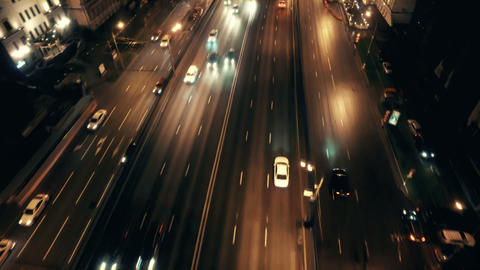Cityscape with transport trafficat autumn evening Footage