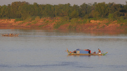Fisherman Family On Boat In Mekong River,Kampong Cham,Cambodia stock footage