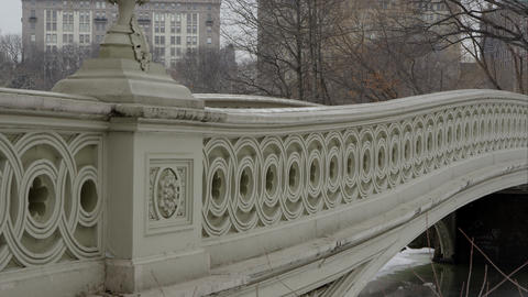 Panning upwards shot from the Bow Bridge in Central Park Footage