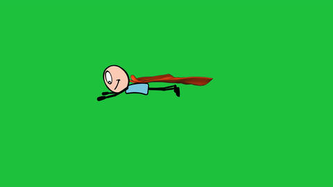 """Super Stick Man"", with Green Background: Looping + Matte Animation"