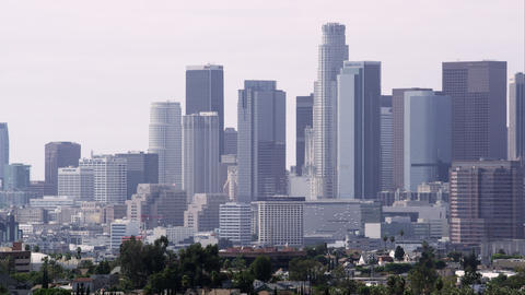Panning zoomed view of Los Angeles with a smoggy sky Footage