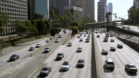 Static slow motion view of traffic on the freeway from bridge in Los Angeles Footage