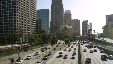 High speed motion view of traffic on the freeway from bridge in Los Angeles Footage