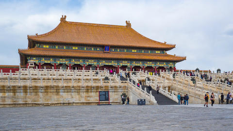 Hall of Supreme Harmony in Forbidden city landmark in Beijing, China time lapse Live Action