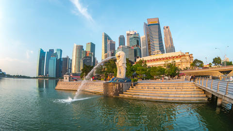Singapore city time lapse with landmark buildings in Singapore Live Action