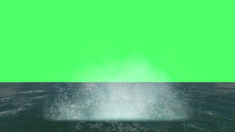 animation- Water Blast Explosion on green screen Animation