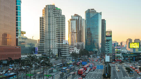 Seoul city traffic road with cityscape skyline in Seoul, South Korea time lapse Live Action