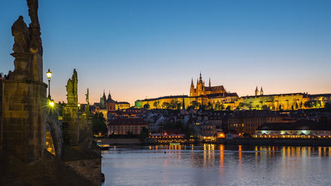 Vltava River with view of Prague old town day to night timelapse in Prague city, Czech Footage