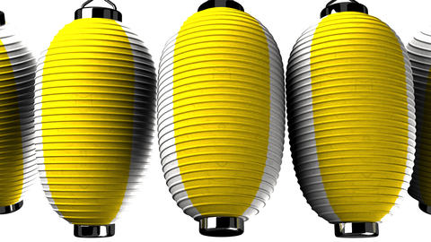 Yellow and white paper lanterns on white background CG動画