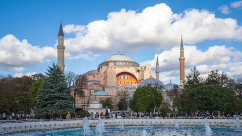 Hagia Sofia mosque with cloudy sky time lapse in Istanbul city, Turkey Footage