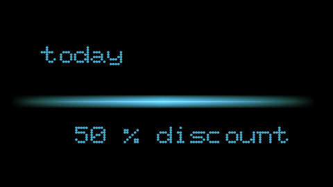 For sale discount price light color text 50% discount today Animation